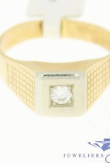 Vintage 14 carat gold men's ring with approx. 0.16ct brilliant cut diamond