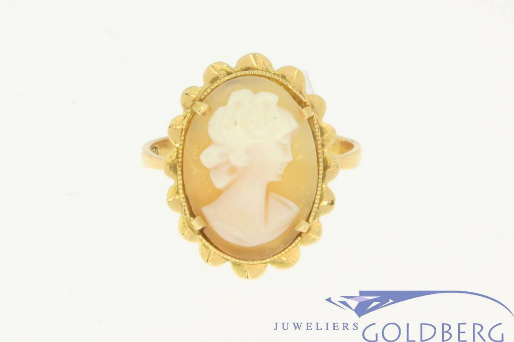 Vintage 18 carat gold ring with cameo - Goldberg