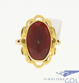 Vintage 14k gouden ring met carneool
