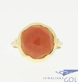 Vintage 14k ring met ronde carneool