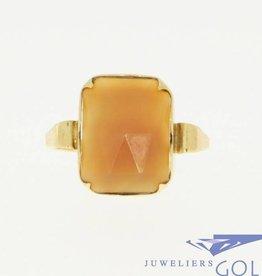 Antieke 14k gouden ring met carneool 1936-1953 J.P. Mom Arnhem