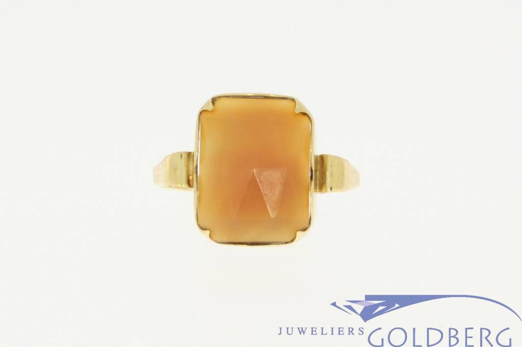 Antique 14 carat gold ring with carnelian 1936-1953 J.P. Mom Arnhem