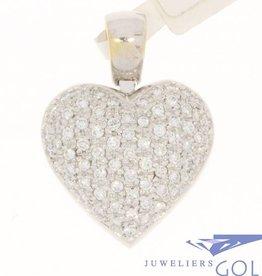 Vintage  18k witgouden hartvormige hanger met ca. 2.2ct briljant