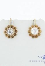 Antieke 14k gouden bloemvormige oorhangers met kwarts 1853-1906