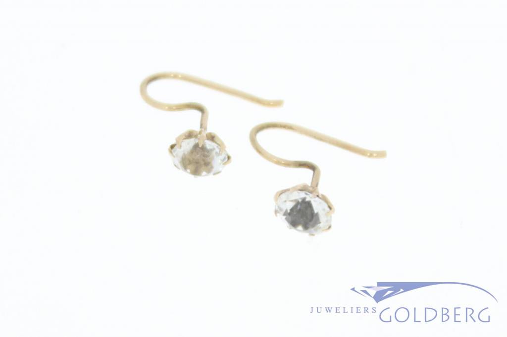Antique 14 carat gold earrings with quartz  1906-1953