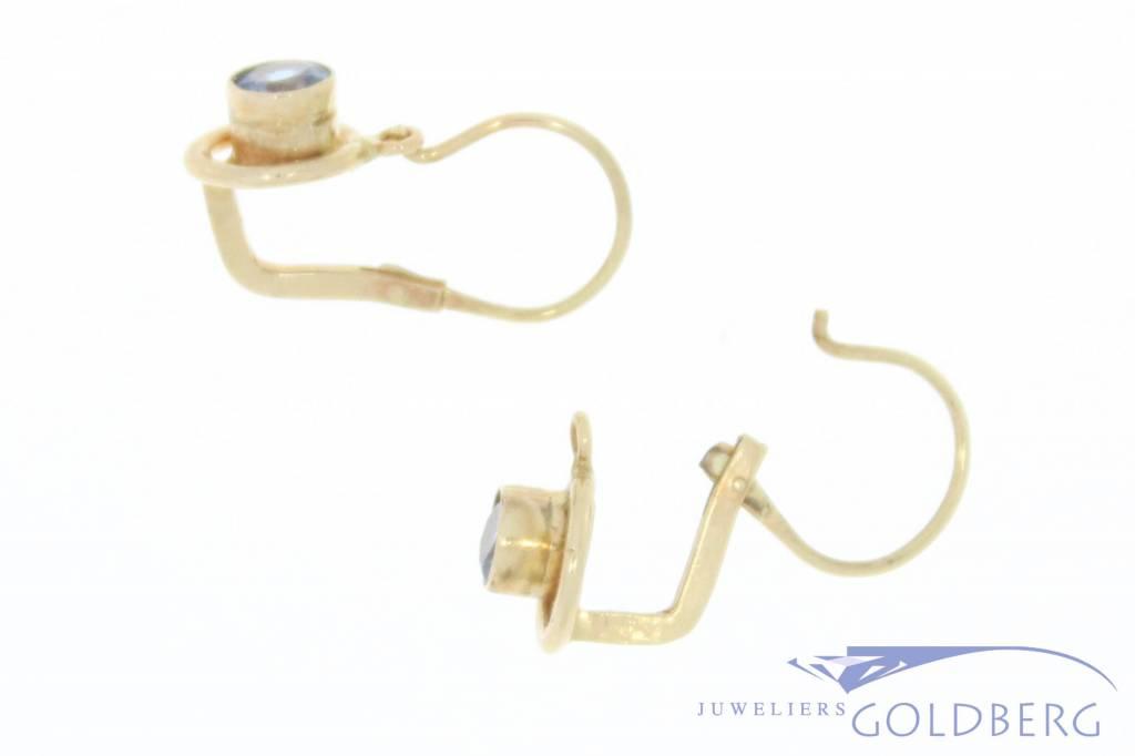 Vintage 14 carat gold earrings with aquamarine Yugoslavia