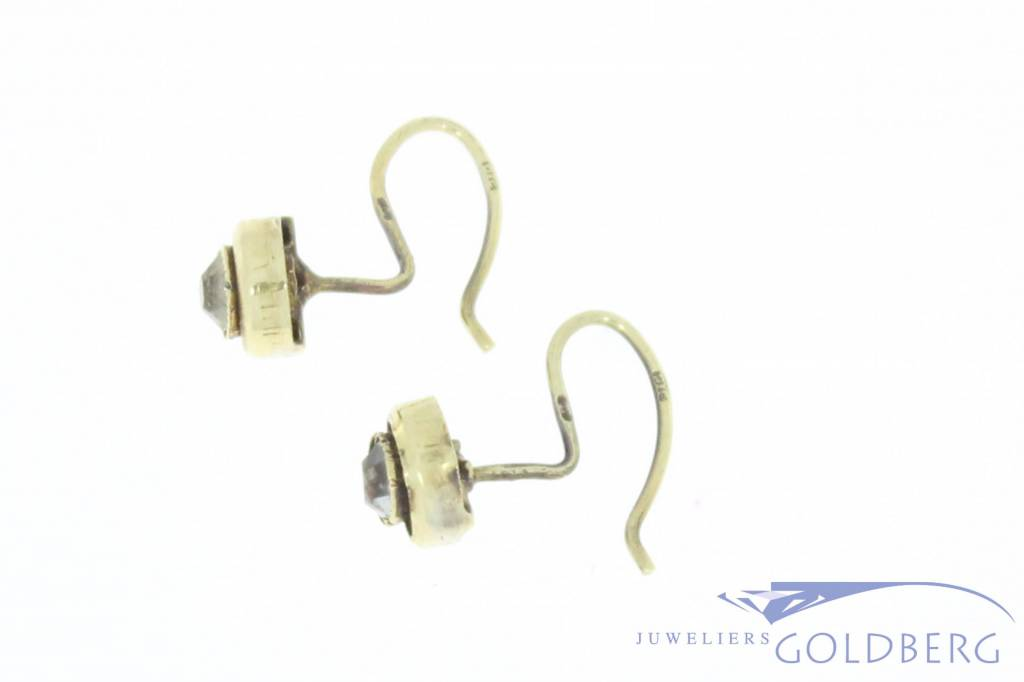 Antique 14 carat gold earrings with zirconia 1906-1953