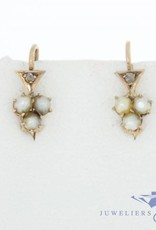 Antique 14 carat gold earrings with pearl and diamond 1853-1906