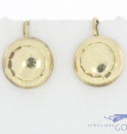 Vintage 14 carat gold decorated circular earrings