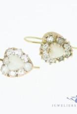 Antieke 14k gouden hartvormige oorhangers met maansteen en strass steentjes 1853-1906