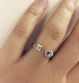 Vintage 14k witgouden ring peridoot en aquamarijn