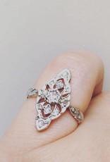 Antique bicolor 18 carat gold and platinum ring with rough cut diamond