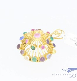 Vintage 18 carat gold pointed pendant with various colours murano glass