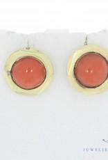 Antique 14 carat gold earrings with red coral 1906-1953