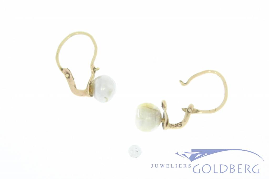 Antique 18 carat gold earrrings with natural pearl