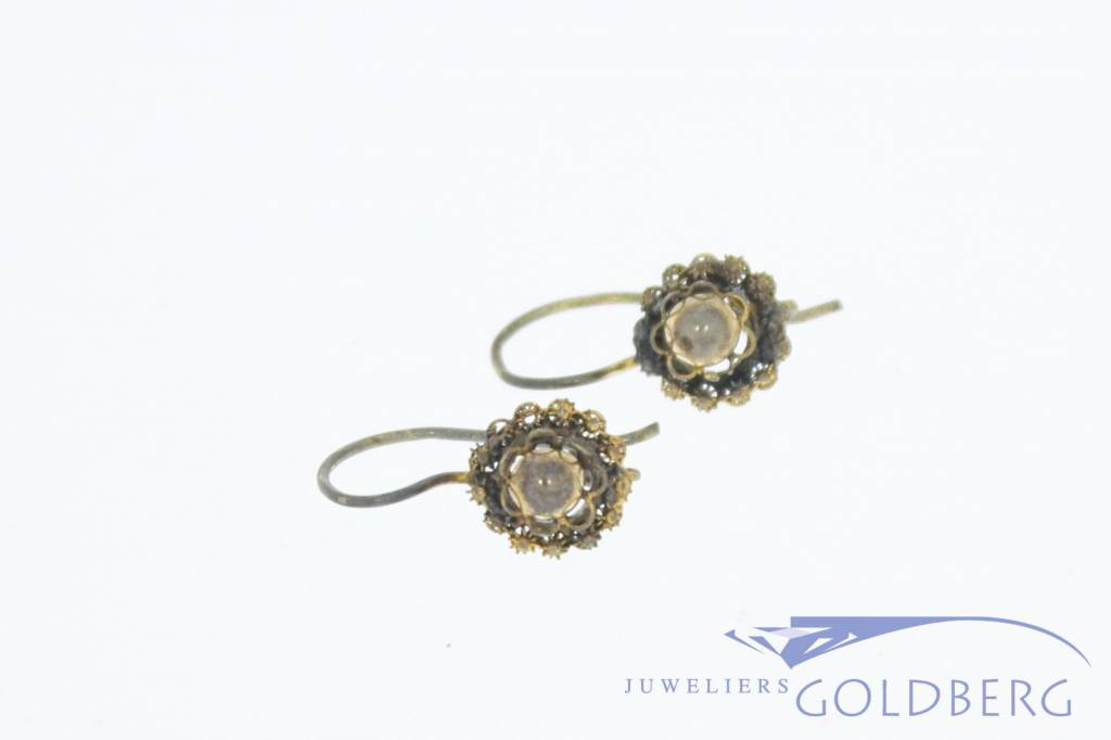 Antique 14 carat gold fire gilded earrings 1853-1906