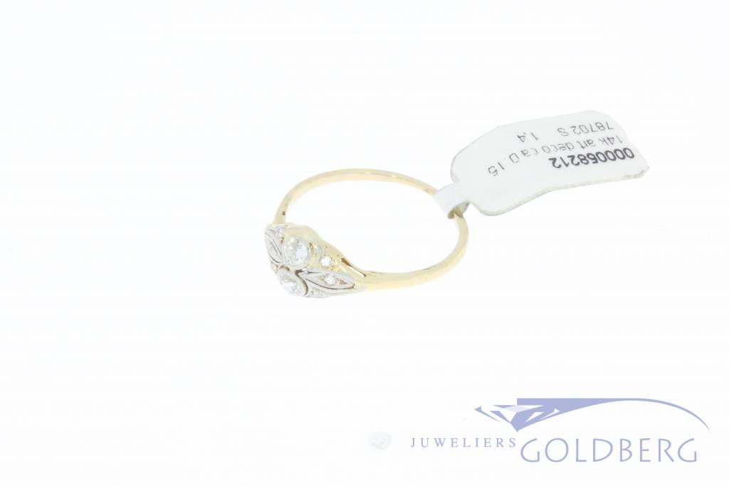 Antieke 14k gouden Art Deco ring met ca. 0.15ct briljant geslepen diamant