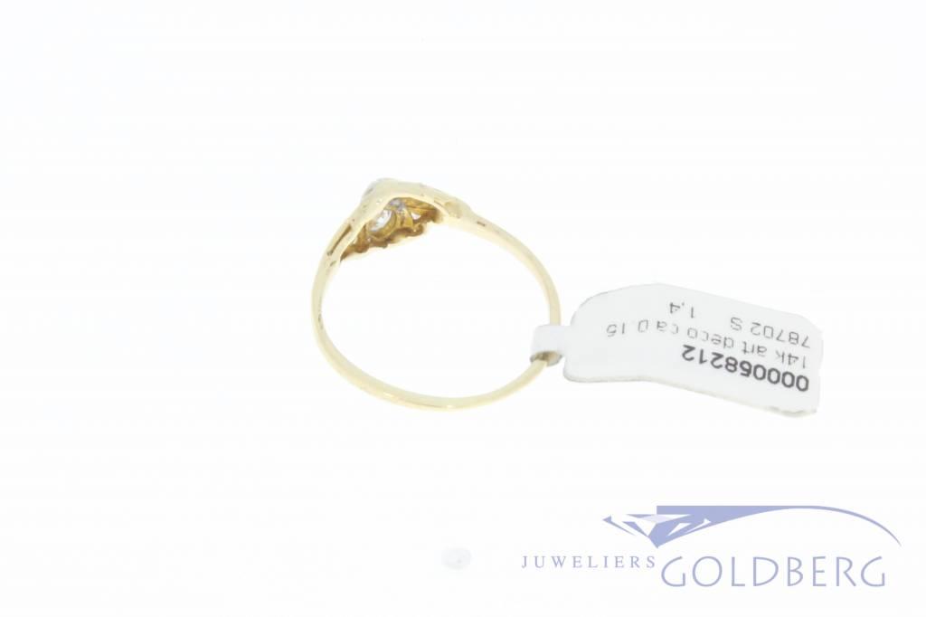 Antique 14 carat gold Art Deco ring with approx. 0.15ct brilliant cut diamond