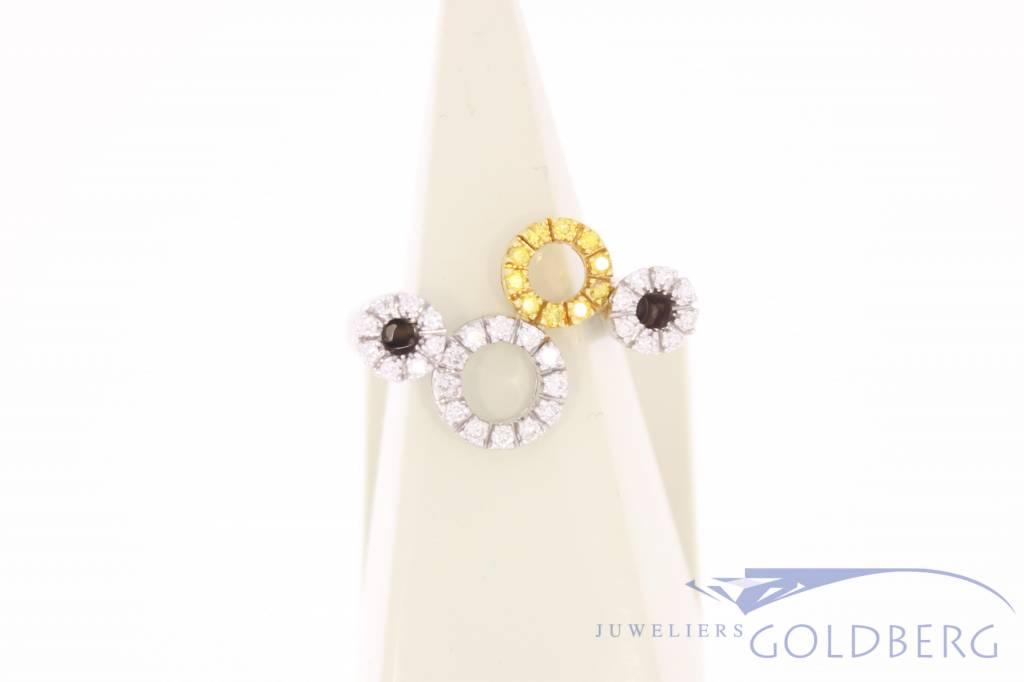 Vintage 18k witgouden ring met witte en gele diamant