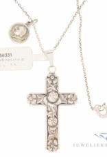 Vintage small silver necklace with decorated cross