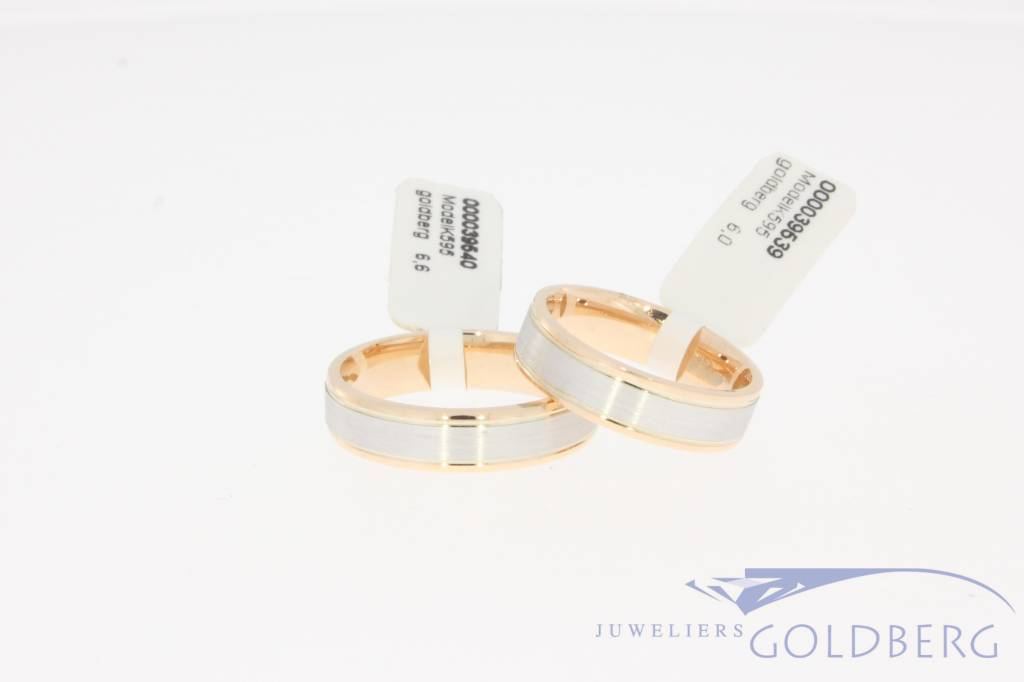 14k white gold & rose gold wedding ring set model K595