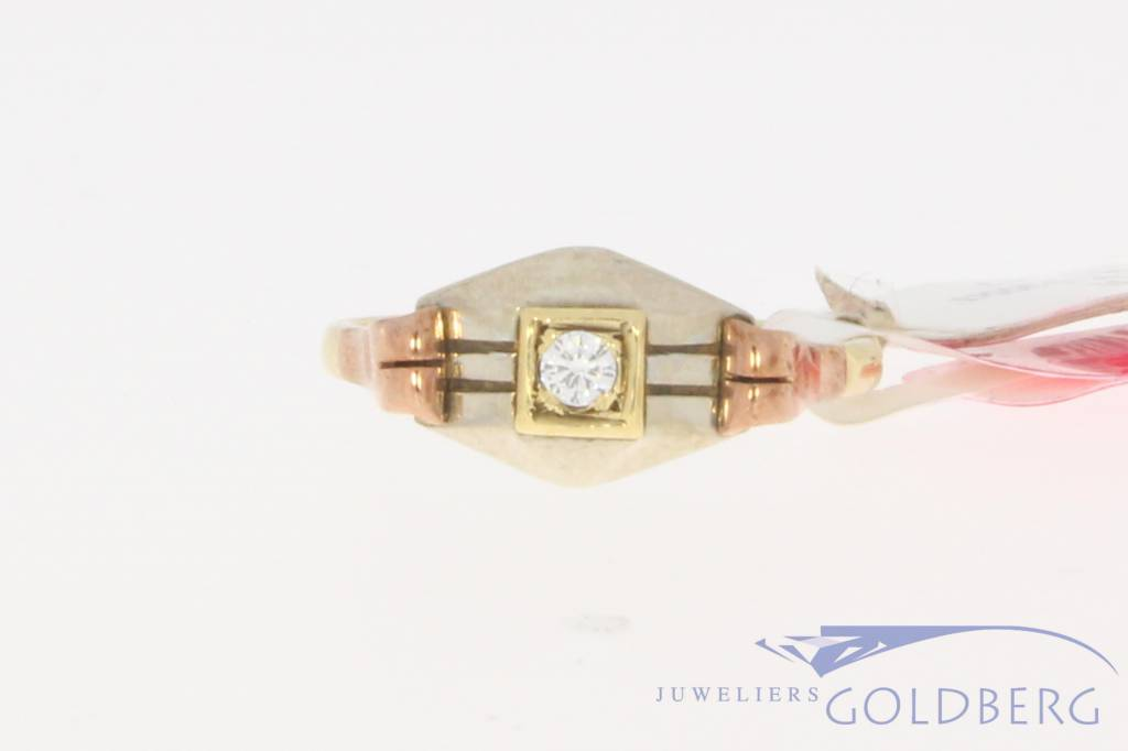 Antique 9k Art Deco ring with a 0.055ct brilliant cut diamond