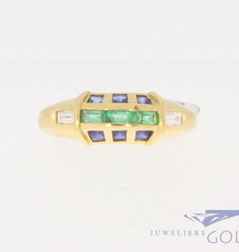 Vintage 18 carat ring with ca. 0.10ct diamond, emerald and blue sapphire