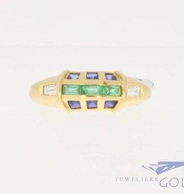 Vintage 18k gouden ring met ca. 0.10ct diamant, smaragd en blauwe saffier