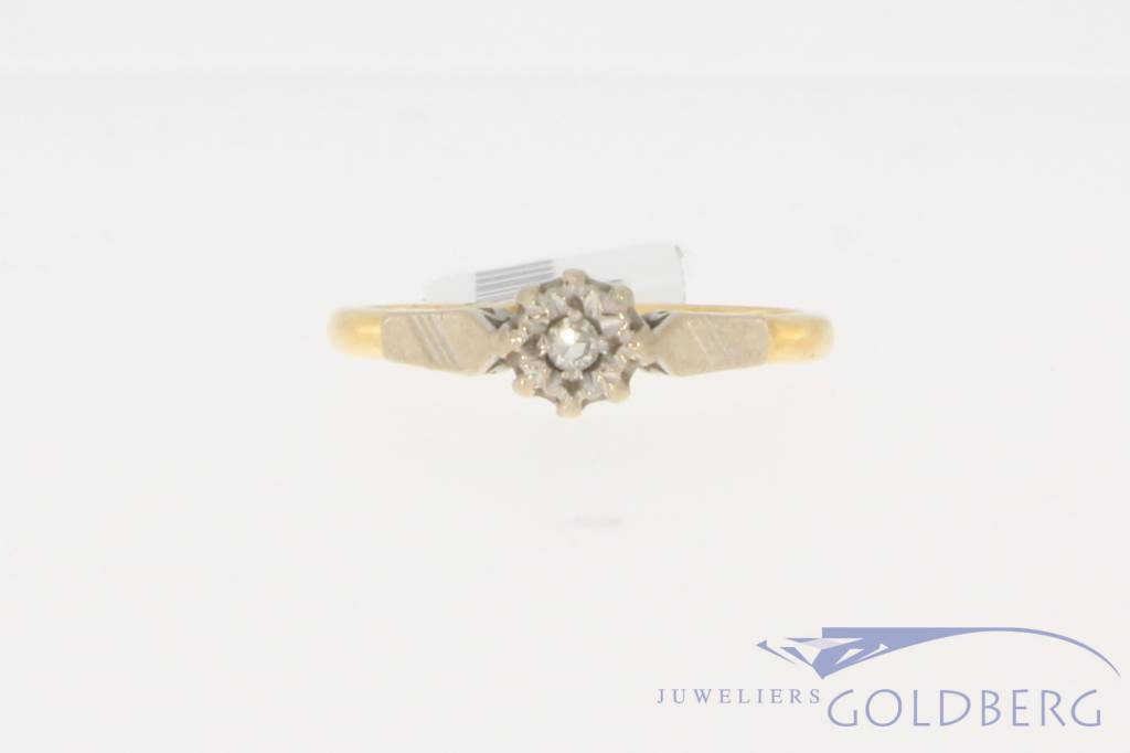 Vintage 18 carat bicolor gold ring with diamond England