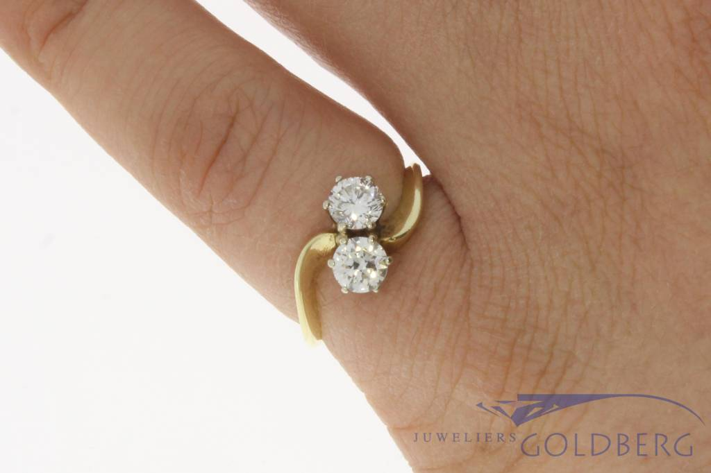 Vintage 14 carat gold ring with ca. 0.70ct brilliant cut diamond