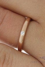 Vintage 14 carat rose gold ring with ca. 0.05ct brilliant cut diamond