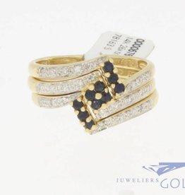 Vintage 14k gouden driedelige ringenset met briljant en blauwe saffier