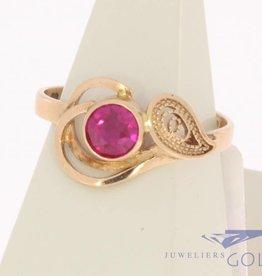 Vintage 14k rose gouden ring synthetische robijn