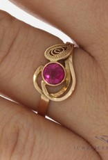Vintage 14 carat rose gold ring with a synthetic ruby