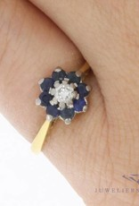 Antique 18 carat gold ring with ca. 0.10 ct brilliant cut diamond and blue sapphire