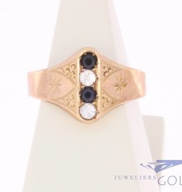 Antique 14 carat rose gold ring with diamond 1853-1906