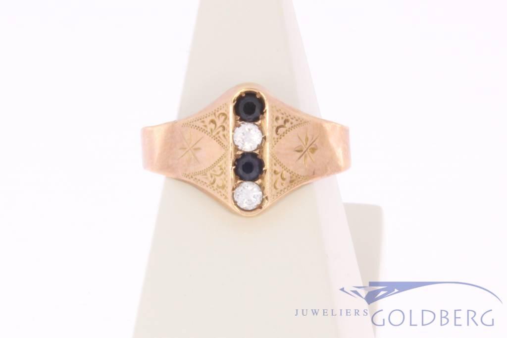 Antique 14 carat rose gold ring with diamond 1853-1906