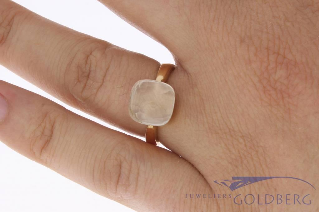 18k rosé gouden design ring facet geslepen witte steen