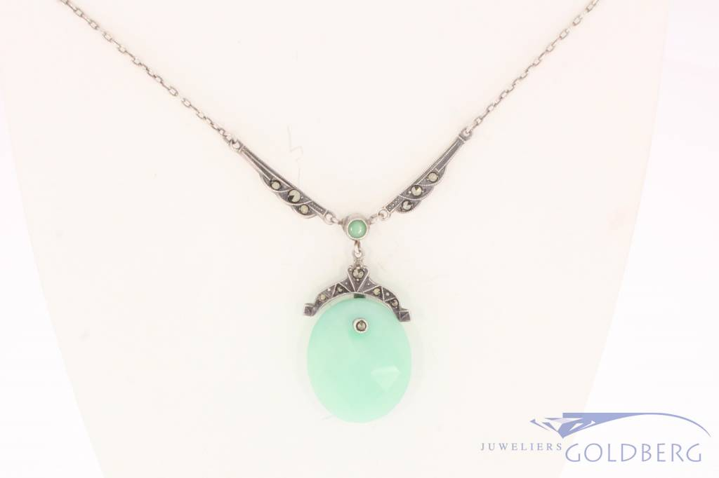 Antique silver Art Deco necklace with Chrysoprase and Markasite