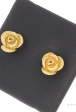 Vintage gold-plated silver rose ear studs