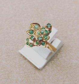 Vintage 20k gouden ring met smaragd