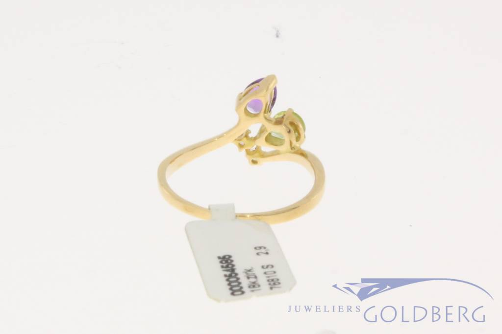 Vintage 18 carat gold ring with amethyst, peridot and zirconia