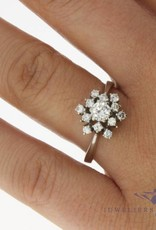 Vintage 14 carat white gold rosette ring 0.82ct diamond