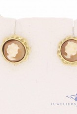 Vintage 14 carat gold cameo earstuds