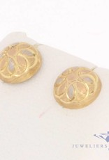 Vintage 14 carat tricolor gold matted earstuds