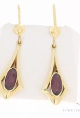 Vintage 14 carat gold earrings with garnet