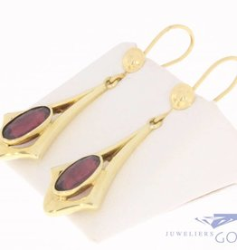 Vintage 14k gouden oorhangers met granaat