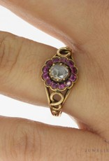 Vintage 14 carat gold ring with rose cut diamond and amethyst