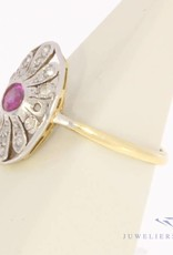 Antique platinum & 14 carat gold ring with diamond and ruby ca. 1920
