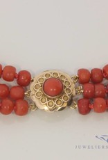 Red coral necklace 3-rows, Amsterdam 1924-'42